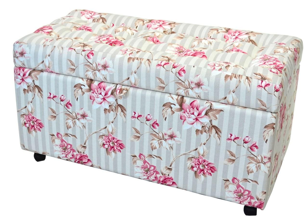 Baú Estofado Floral Lilás com Listras Cinza #943757 1280x905
